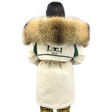 Зимняя куртка женская парка с натуральным мехом толстая верхняя одежда Femme теплое зимнее пальто с натуральным большим мехом енота куртка с капюшоном размера плюс