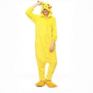 Image 1 - Pikachu Women Cosplay Onesie Adult Funny Animal Sleepwear For Man Loose Warm Anime Pajamas Jumpsuit Winter Onepiece
