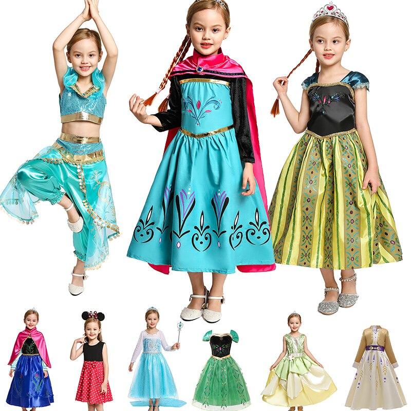 Платье принцессы YOFEEL для девочек, костюм Анны и Эльзы, косплей, жасмин, спутанные Белоснежки, платье Tianna, платье Снежной королевы, 2 модных пл...