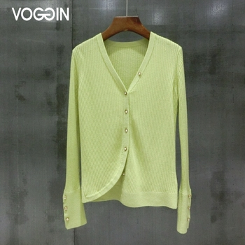 VOGGIN Pure wool Cardigan femme Pearl buttons Asymmetric Superfine wear women Sweaters V-neck Fashion trends New Tops