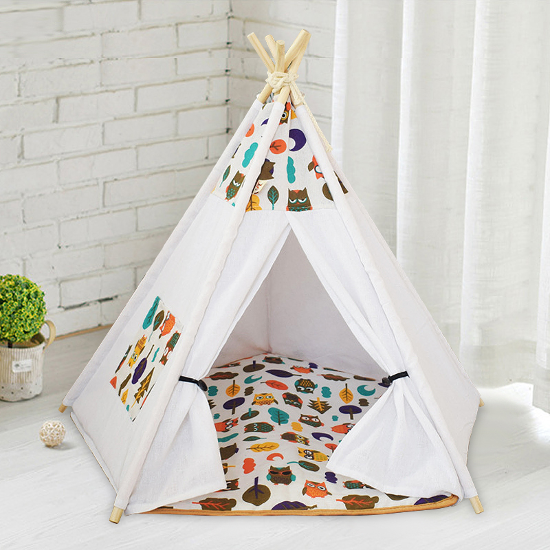 Dog/Cat Teepee, Pet Teepee House Dog Mat Washable Portable All Seasons Useable Dog Teepee Cushion Bed for Cats Puppy Little Dogs image