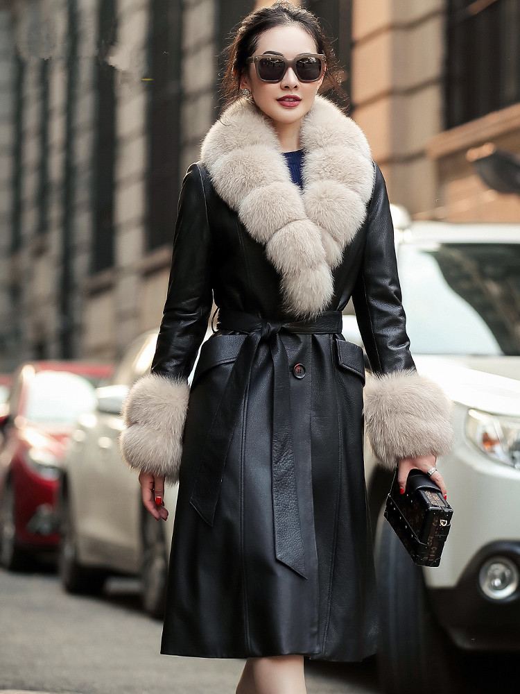 Cow Real Leather Jacket Winter Coat Women Real Fox Fur Collar Down Jacket Women Long Trench Coat Chaqueta Mujer 19D08-21