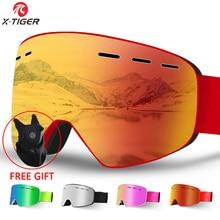 X-TIGER, брендовые очки для сноуборда, для мужчин и женщин, лыжные очки, двухслойные,, UV400, анти-туман, большая Лыжная маска, очки для катания на лыжах
