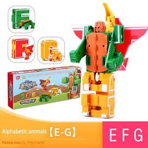 Image 4 - 26 letter A Z Alphabet Animal Dinosaur Warrior Deformation Action Figures Transformation Robot Toys For Children Gift Brinquedos