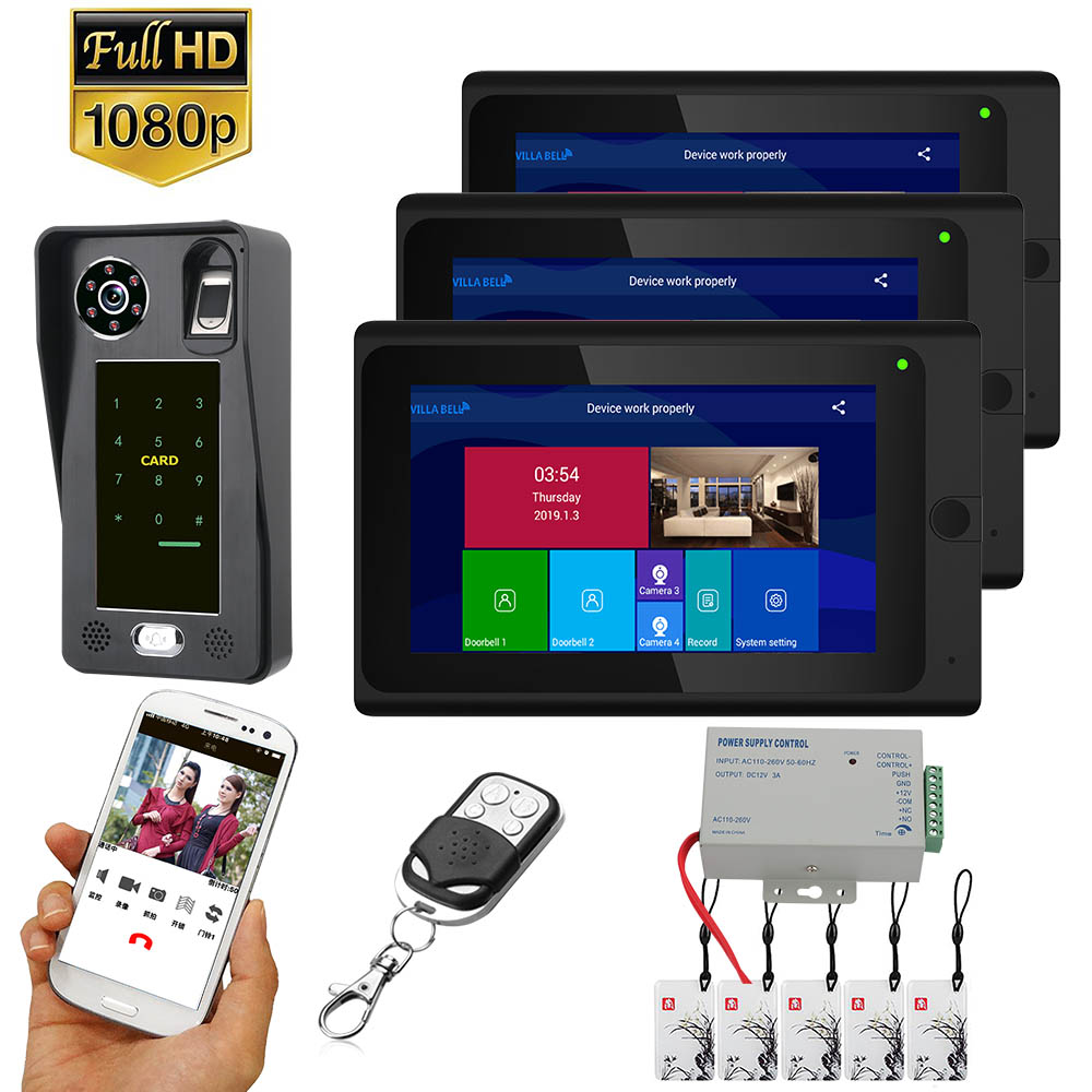 7 Inch  3 Monitors  Wifi Wireless Fingerprint IC Card  Video Door Phone Doorbell Intercom System With Wired AHD 1080P  Door Acce