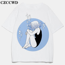 CZCCWD New T-shirts Casual Harajuku Depression Girl Printed Top Tee Summer Female T Shirt Short Sleeve Aesthetic Tops Women 2020(China)