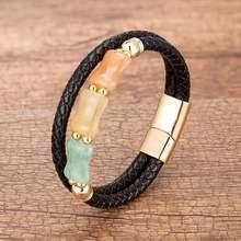 Новый цвет натуральный камень женский браслет унисекс черный