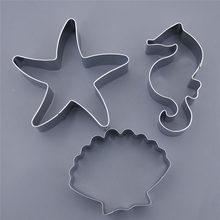 Ferramentas de biscoito moldes de biscoito 3 pçs oceano estrela do mar conchas cavalo mar moldes de bolo de biscoito moldes de aço inoxidável cortador de biscoito conjuntos