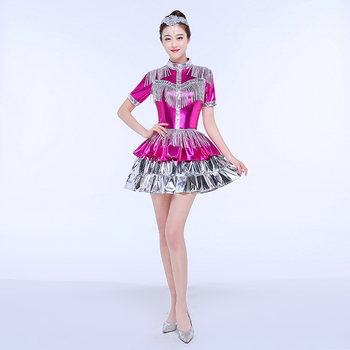 New Jazz Dance Costume Female Modern Dance Costume Short Skirt Sequins Adult Performance Clothing Stage Sexy Suit