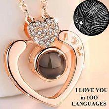 Or Rose projetant un collier d'amour 100 langues je t'aime pendentif collier amour coeur forme collier saint valentin cadeau