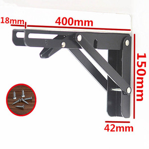 Image 3 - 2PCS,8  20 Inch Length Heavy Duty Decorative Adjustable Black Triangle Wall Mount Folding Desk Table Support Shelf Brackets