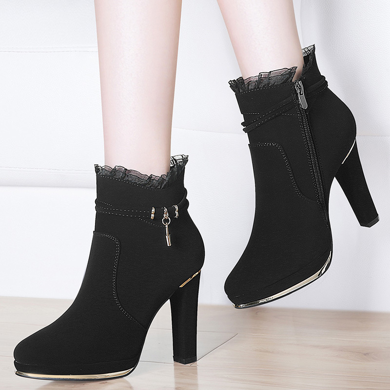 Gucci Tianlun Chunky-Heel Short Boots High-heeled Shoes 2019 Autumn New Style Korean-style Ankle Boots Versatile Women's Singles