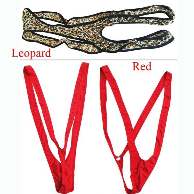 Quần Lót Ren Dây Vai Mankini 1 V Sling Co Giãn Lót (Bodysuit Con Báo Chắc Chắn Chữ G Suspender Quần Lót