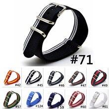 Bracelet de montre en tissu Nylon tissé, multicolore, bleu marine, blanc, militaire, nato, ceinture à boucle, 22mm, nouvelle collection