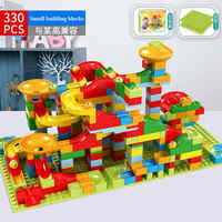 330PCS Neue Marmor Rennen Run Maze Ball Dschungel Abenteuer Track Gebäude Block Kleine Größe Bricks Kompatibel Duplo Block kinder geschenke