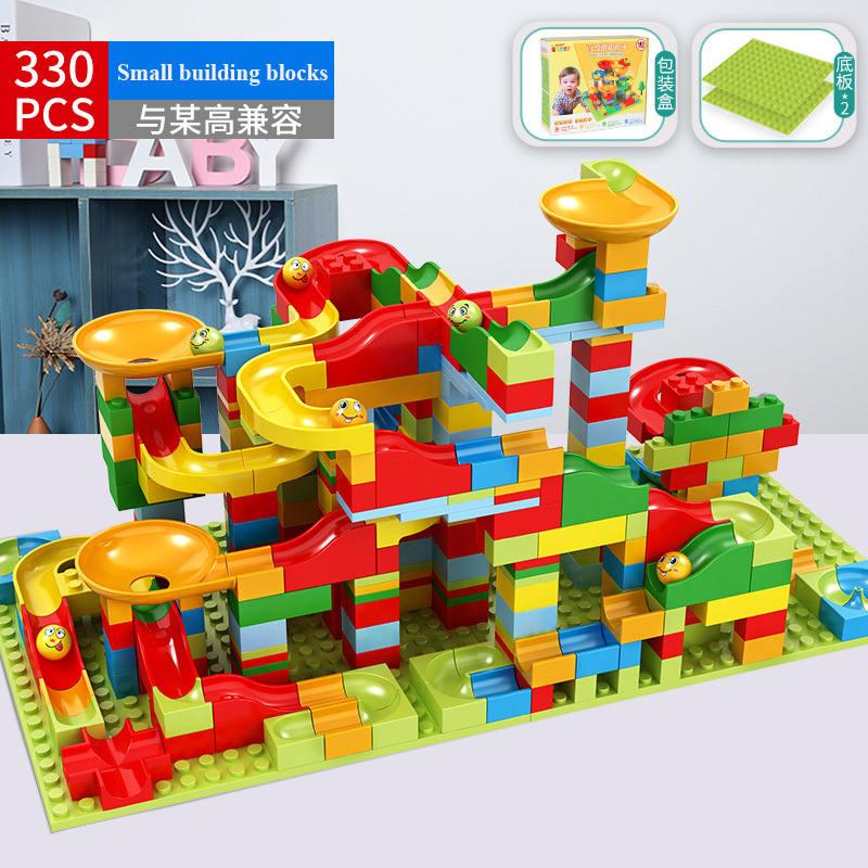 330PCS New Marble Race Run Maze Ball Jungle Adventure Track Building Block Small Size Bricks Compatible Duplo Block Kids Gifts