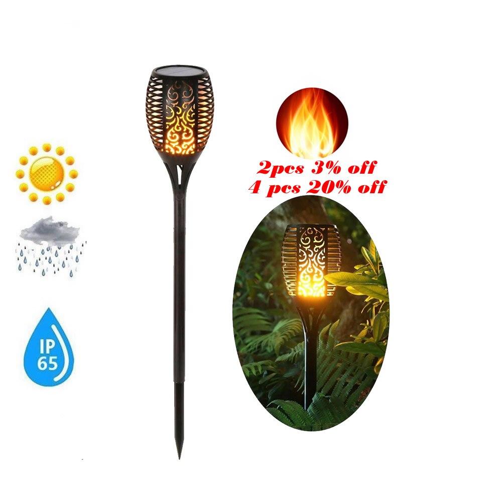 Solar 33LEDs Lawn Dancing Luz Flame Torch Lights Radar Tiki LE Landscape Garden Camp Lattern Lamp Flickering Dancing Lawn Lamps