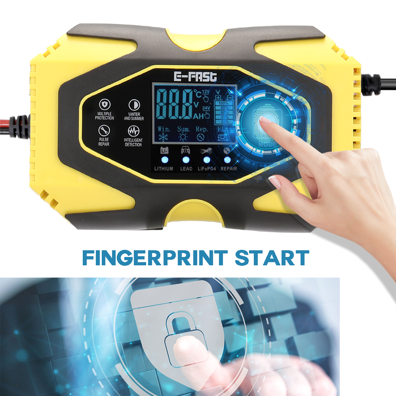 12V6A-24V3A автоматическое импульсное Ремонтное зарядное устройство для литиевых свинцово-кислотных батарей LiFePO4, цифровой ЖК-дисплей