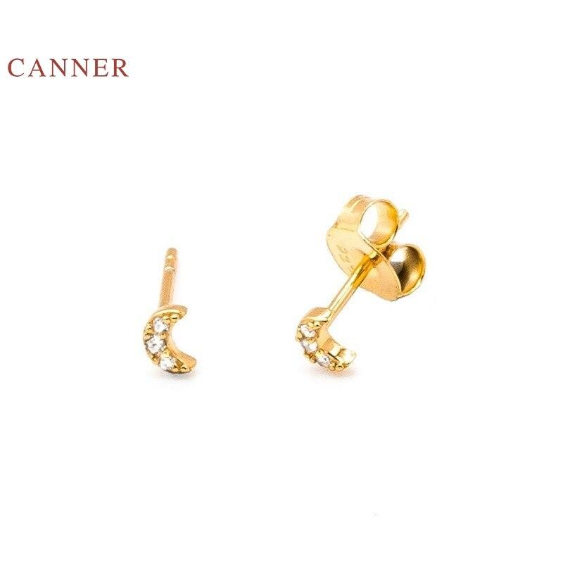 Женские серьги-гвоздики CANNER из серебра 925 пробы с цирконом и бриллиантами