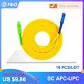 10 шт./лот SC APC для SC UPC SC патч-корд Simplex 3 0 мм ПВХ одномодовый волоконный соединительный кабель джемпер