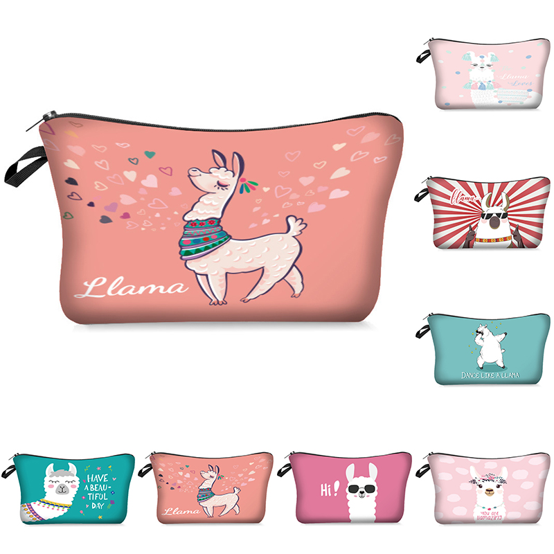 Llama Cosmetic Pouch 3D Printing Women Travel Makeup Bag Pencil Storage Organizer Coin Bags For Wpmen Girls Multicolor Pattern