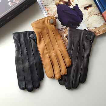 Exported High-Grade Deerskin Leather Gloves Male Thermal Cashmere Knitted Lined Autumn Winter Man Real EM012WR