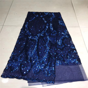 Madison NavyBlue African Lace Fabric High Quality Sequins Lace Fabric for Nigerian Evening Party Sequence Tulle Mesh Lace