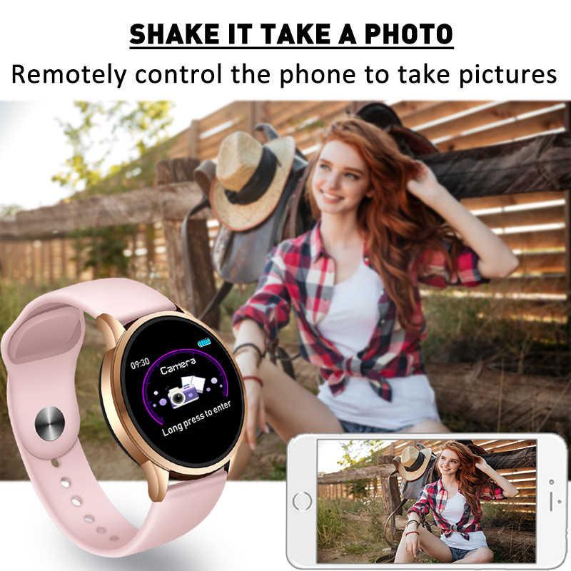 Spor izci akıllı saat kadın su geçirmez spor IOS Android telefon Smartwatch için nabız monitörü kan basıncı fonksiyonları