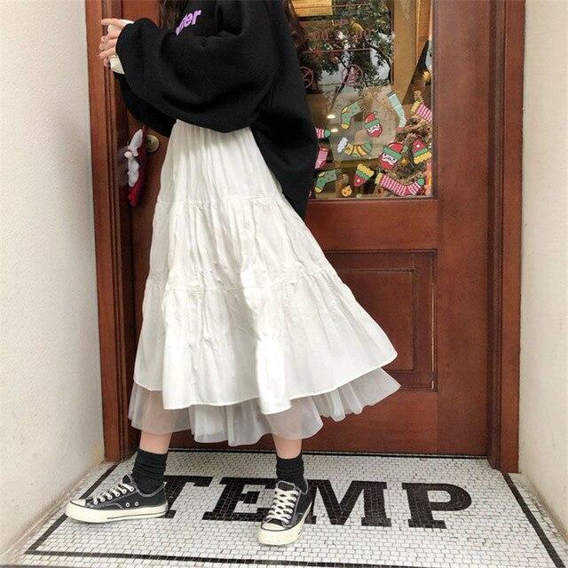 Long Tulle Midi Skirts Womens 2020 Autumn Elastic High Waist Mesh Tutu Pleated Skirts Female Black White Long Skirt Streetwear 1