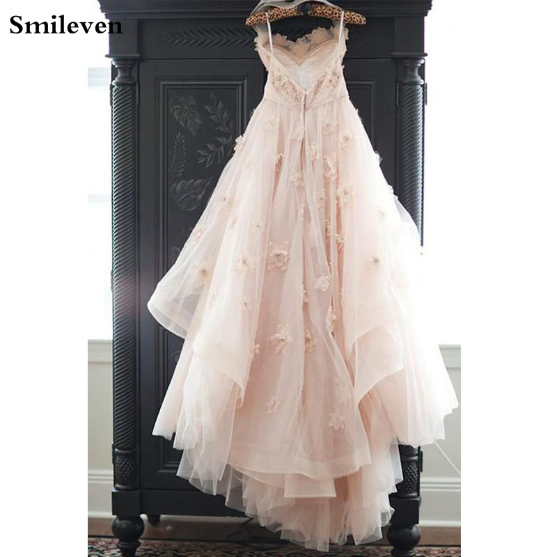 Smileven Princess Wedding Dress 2020 Spaghetti Strap A Line Real Photos Appliques Backless Lace Wedding Gowns Bridal Dress