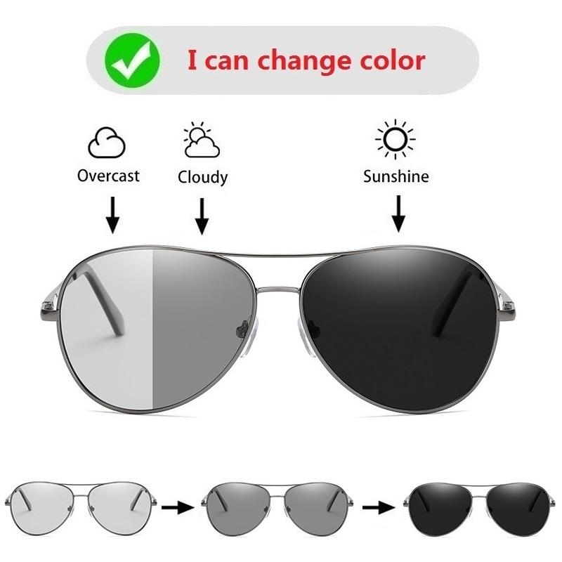Photochromic Sunglasses Men Polarized Driving Pilot Chameleon Vintage Sun Glasses Women Male Change Color Day Night Vision UV400