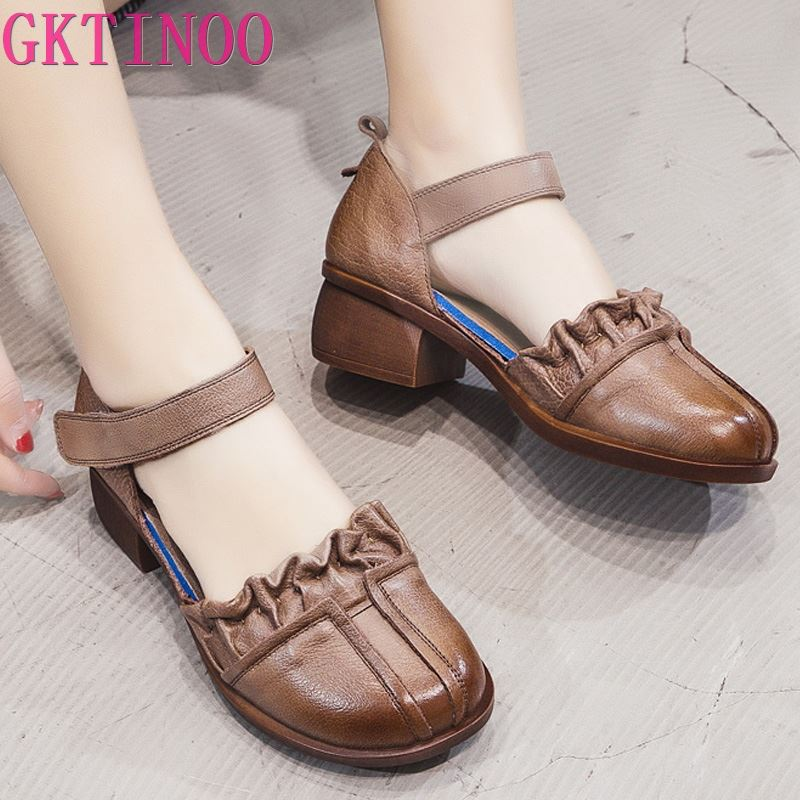 GKTINOO 2020 Summer Genuine Leather Handmade Sandals Women Thick With Heels Retro Closed Toe Hollow Ladies Women's Leather Shoes