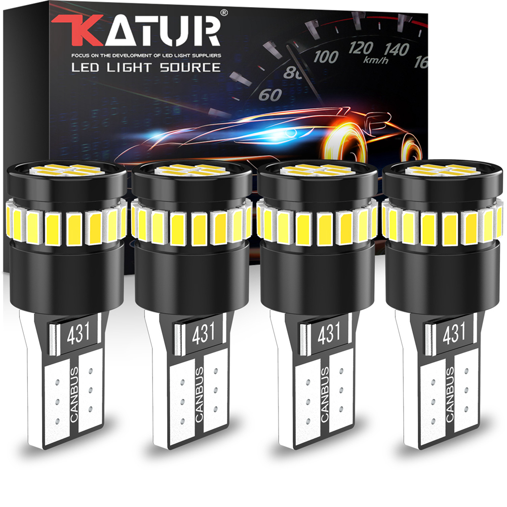 4x W5W светодиодный T10 светодиодный Canbus лампочки нет ошибок светодиодный интерьер автомобиля чтения Автомобильные стояночные огни белый 12V дл...