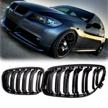 AL21 -1 Pair Car Front Grille Gloss Black Inlet Grille for BMW E90 LCI 3-Series Sedan/Wagon 2009 - 2011