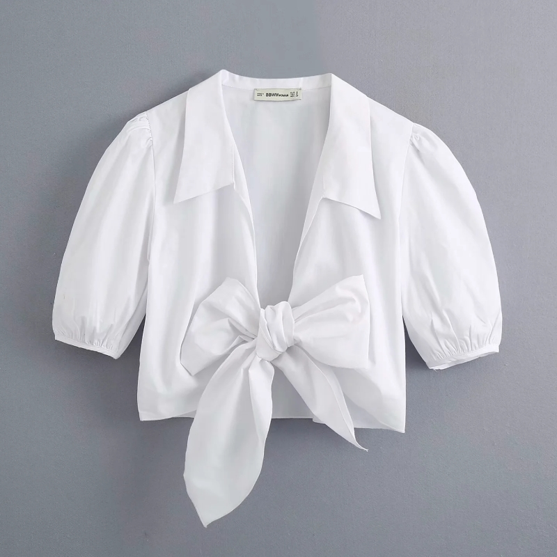 New 2020 Women Sexy Bow Tied Casual White Smock Blouse Ladies Puff Sleeve Poplin Short Shirt Femme Chic Brand Blusas Tops LS6681