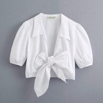 Nuovo 2020 Sexy Delle Donne Bow Legato Casual Bianco Smock Camicetta Delle Signore Del Manicotto Di Soffio Popeline Breve Camicia Femme Marca Chic Blusas Top LS6681