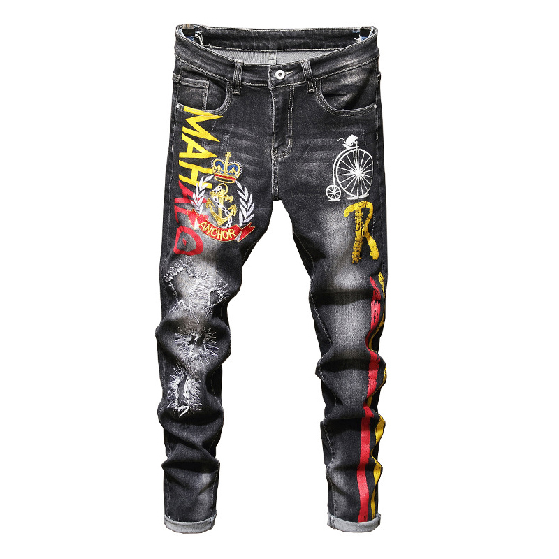 Sokotoo Men's Anchor Crown Embroidered Printed Jeans Fashion Patchwork Ripped Stretch Edenim Slim Straight Pants