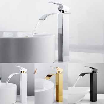 Luxury Bathroom Waterfall Faucet Antique Sink Brass Wide Flowing Hot and Cold Mixer Tap Deck Mounted Basin Torneira Contemporary 1
