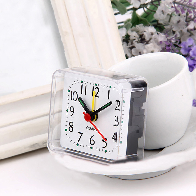 Square Small Bed Compact Travel Quartz Beep Clock Fashion Rabbit Bedside Lamp Green Batteries Alarm 4 Colors Multi-function