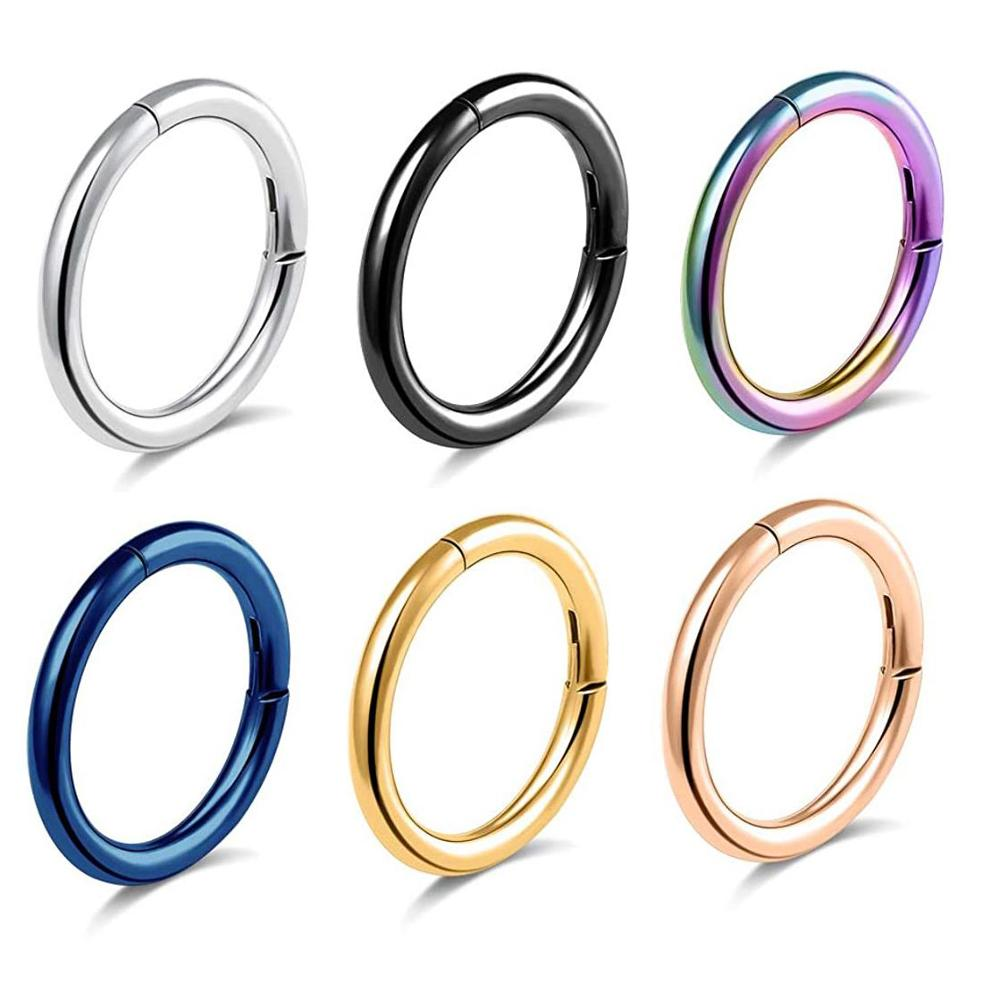 316l Surgical Steel Hinged Hoop Segment Nose Ring 16g 14g Lip
