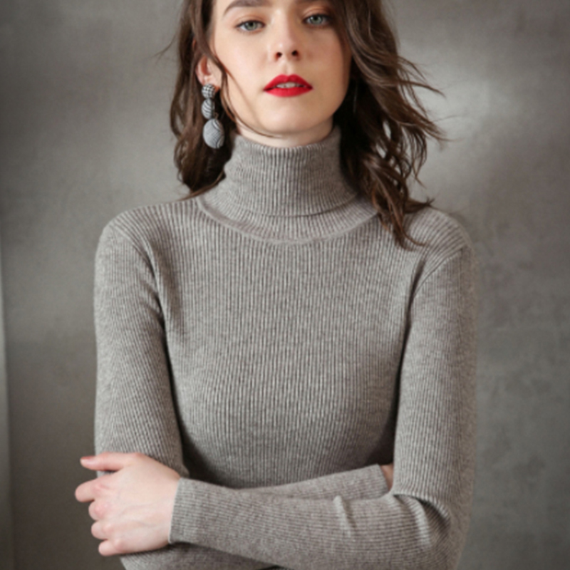 Casual Turtleneck Knitted Sweater Women Winter Slim Warm Pullover Office Lady Solid Bottoming Sweaters Tops Elasticity Plus Size