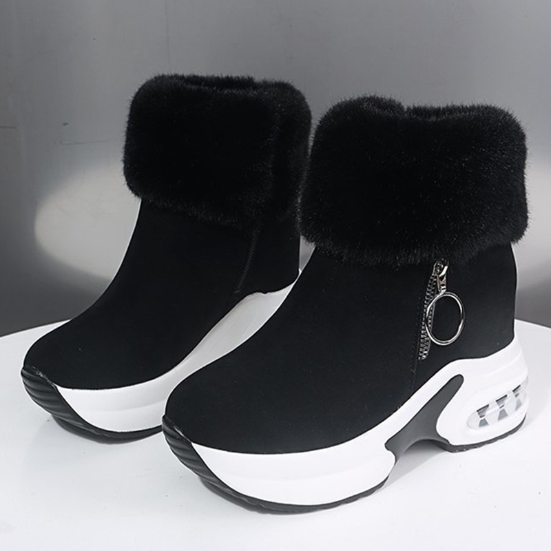 Women Ankle Platform Boots Warm Plush Winter Shoes Height Increasing Ladies Boot Zip Snow Winter Sneakers Zapatos Para Mujer