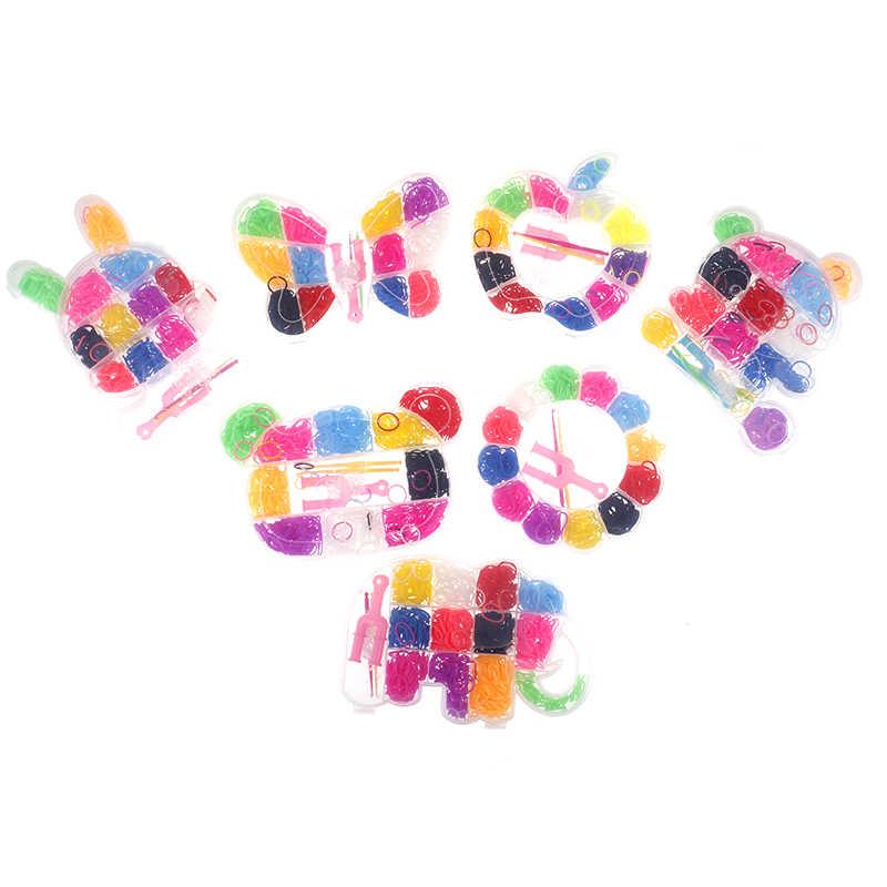 600pcs Colorato Bande telaio di Gomma Del Tessuto Elastico Rendono Il Braccialetto di DIY Tool set Kit Box Ragazze Regalo Per Bambini Giocattoli per bambini