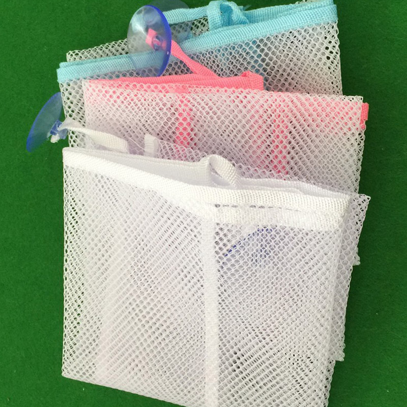 Household dirty laundry mesh basket kids baby bath tub toy storage net folding hanging bag organiser for bathroom