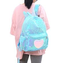 Girl Holographic Love Unicorn School Bag Teenager Children Colorful Heart Sequins Backpacks Women Large Glittering Travel