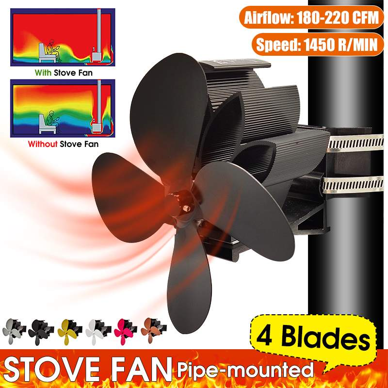 Automatic Pipe Mounted 4 Blades Heat Powered Stove Fan Log Wood Burner Ecofan Quiet Home Fireplace Fan Efficient Heat Distribute