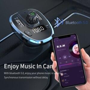Image 2 - Essager USB شاحن سيارة سماعة لاسلكية تعمل بالبلوتوث 5.0 سيارة عدة يدوي FM الارسال MP3 سريع شاحن آيفون شاومي الهاتف المحمول