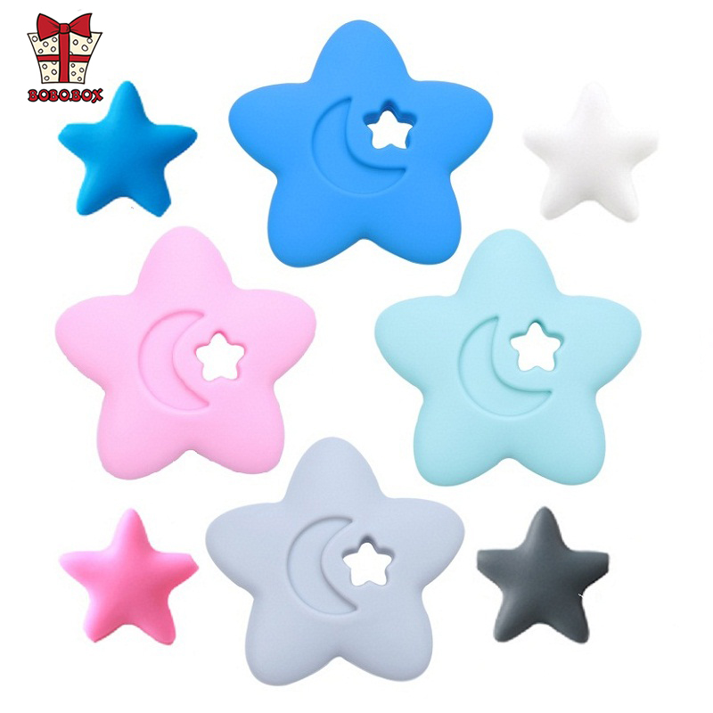 BOBO.BOX 1pcs Food Grade Silicone Teethers BPA Free Baby Teething Toy Chewing Ring Star Silicone Beads Oral Care Pacifier Clips