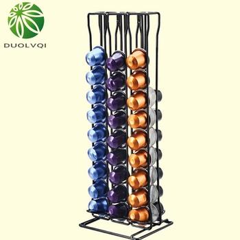 Praktyczna kapsułka z kawą uchwyt na kapsułki kawy wieża stojak na 60 kapsułek Nespresso przechowywanie soporte capsulas nespresso tanie i dobre opinie duolvqi Metal Ponad osiem częściowy zestaw KG59GA