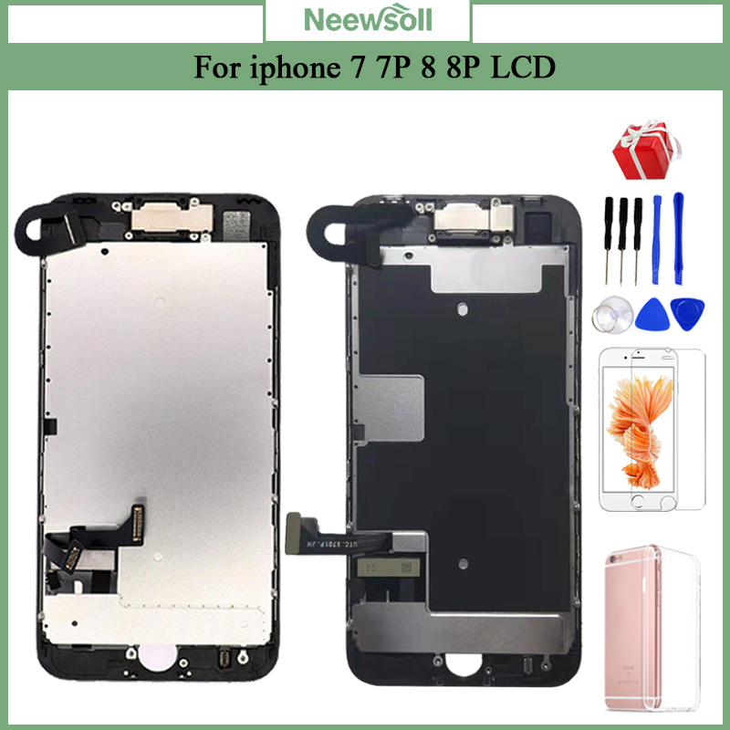 Completed LCD For IPhone 7  7 Plus 8 8 Plus Superior Quality LCD Screen Assembly Replacement With Front Camera+Speaker+Gift